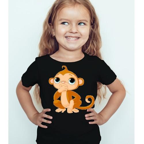 Black Girl Monkey Kid's Printed T Shirt