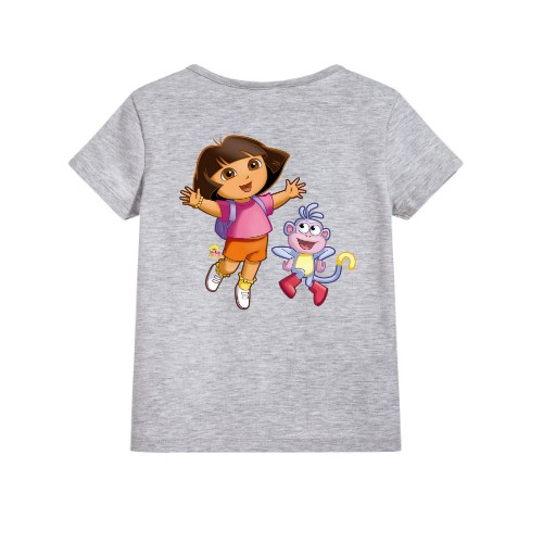 Grey Dora with monkey Kid's Printed T Shirt