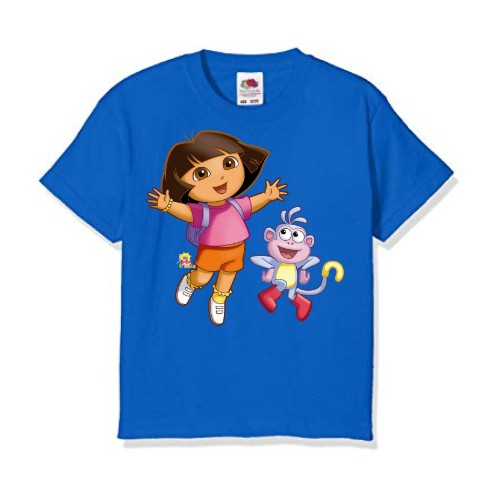 Blue Dora with monkey Kid's Printed T Shirt