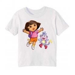 White Dora with monkey Kid's Printed T Shirt