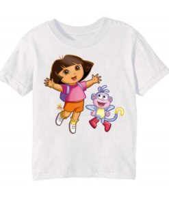 White Dora with monkey Kid's Printed T Shirt