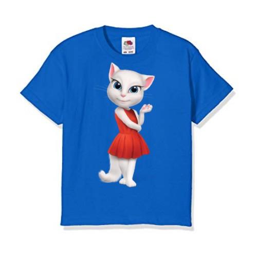 Blue Talking Angela in red dress Kid's Printed T Shirt