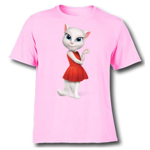 Pink Talking Angela in red dress Kid's Printed T Shirt