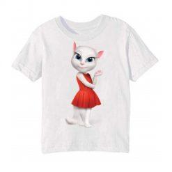 White Talking Angela in red dress Kid's Printed T Shirt