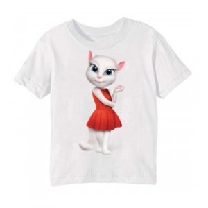 White Talking Angela in red dress Kid's Printed T Shirt