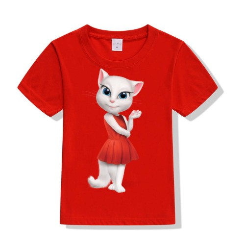 Red Talking Angela in red dress Kid's Printed T Shirt