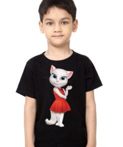 Black Boy Talking Angela in red dress Kid's Printed T Shirt