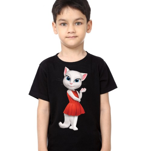 Black Boy Talking Angela in red dress Kid's Printed T Shirt