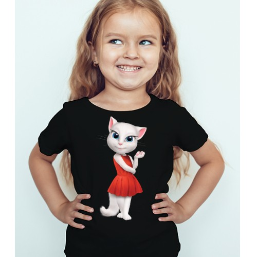 Black Girl Talking Angela in red dress Kid's Printed T Shirt