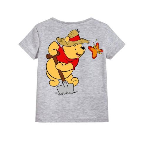 Grey Digging Bear & Butterfly Kid's Printed T Shirt