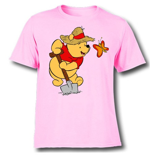 Pink Digging Bear & Butterfly Kid's Printed T Shirt