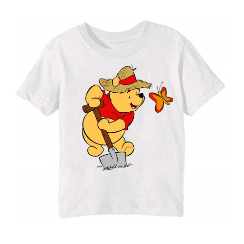 White Digging Bear & Butterfly Kid's Printed T Shirt