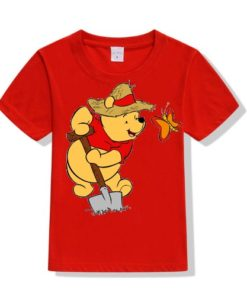 Red Digging Bear & Butterfly Kid's Printed T Shirt