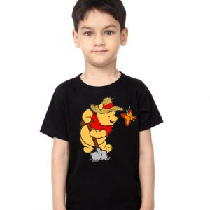 Black Boy Digging Bear & Butterfly Kid's Printed T Shirt