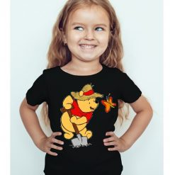 Black Girl Digging Bear & Butterfly Kid's Printed T Shirt