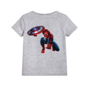 Grey Spiderman with captain america's shield Kid's Printed T Shirt