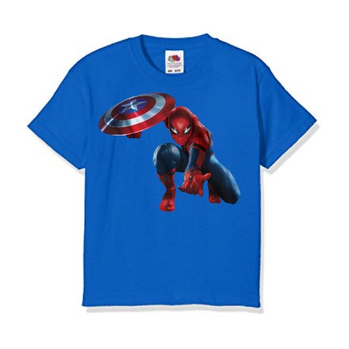 Blue Spiderman with captain america's shield Kid's Printed T Shirt