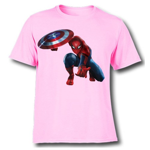 Pink Spiderman with captain america's shield Kid's Printed T Shirt