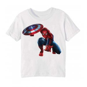 White Spiderman with captain america's shield Kid's Printed T Shirt