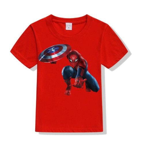 9d861dd0 Buy Spiderman with captain america's shield t shirt for girl|kids ...