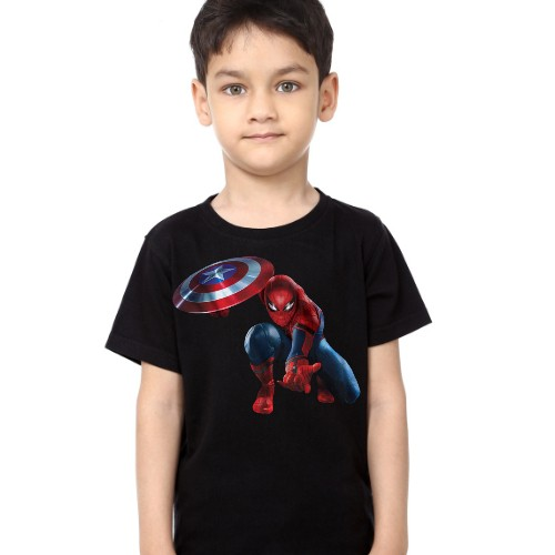 Black Boy Spiderman with captain america's shield Kid's Printed T Shirt