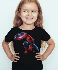 Black Girl Spiderman with captain america's shield Kid's Printed T Shirt