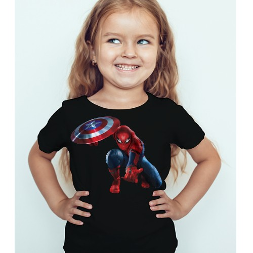 8fd84af6 Black Girl Spiderman with captain america's shield Kid's Printed T Shirt