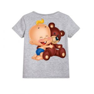 Grey Baby with Teddy Kid's Printed T Shirt