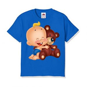 Blue Baby with Teddy Kid's Printed T Shirt