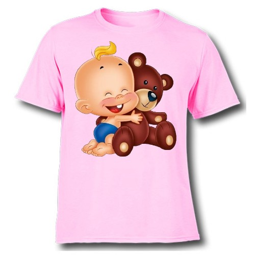 Pink Baby with Teddy Kid's Printed T Shirt