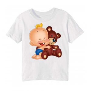 Printe5 White Baby with Teddy Printed Kid's T Shirt