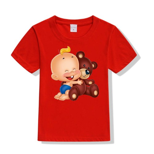 Red Baby with Teddy Kid's Printed T Shirt