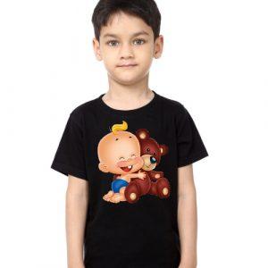 Black Boy Baby with Teddy Kid's Printed T Shirt