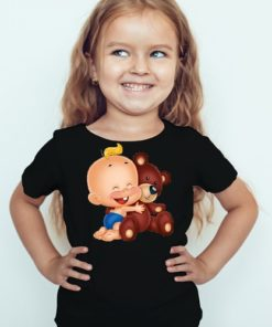 Black Girl Baby with Teddy Kid's Printed T Shirt
