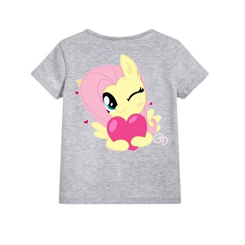 Grey heart & girl Kid's Printed T Shirt