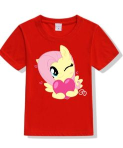 Red heart & girl Kid's Printed T Shirt