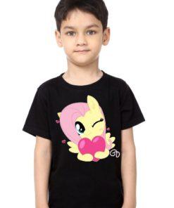 Black Boy heart & girl Kid's Printed T Shirt