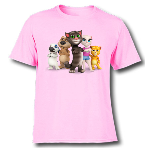 Pink Talking tom's team Kid's Printed T Shirt