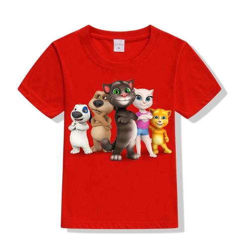 Red Talking tom's team Kid's Printed T Shirt