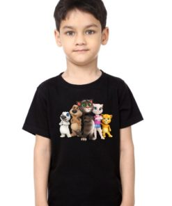 Black Boy Talking tom's team Kid's Printed T Shirt