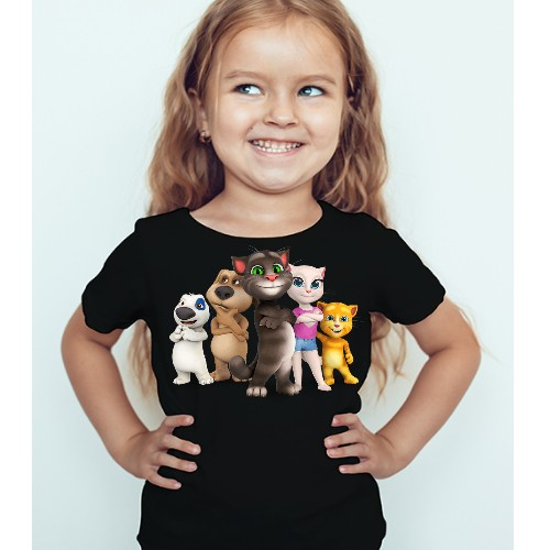 Black Girl Talking tom's team Kid's Printed T Shirt