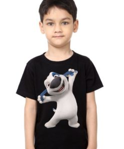 Black Boy Style pose dog Kid's Printed T Shirt