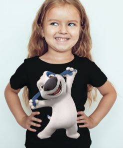 Black Girl Style pose dog Kid's Printed T Shirt