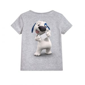 Grey dog reading letter Kid's Printed T Shirt