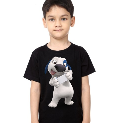 Black Boy dog reading letter Kid's Printed T Shirt