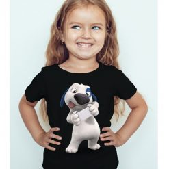 Black Girl dog reading letter Kid's Printed T Shirt