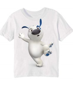 White one leg dog Kid's Printed T Shirt