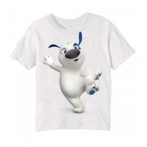 White one leg dog Kid's Printed T Shirt