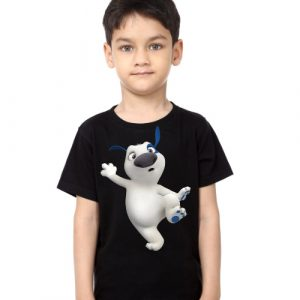 Black Boy one leg dog Kid's Printed T Shirt