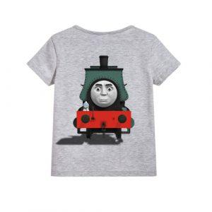 Grey angry train Kid's Printed T Shirt